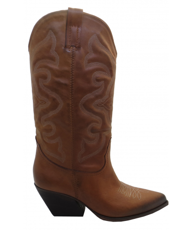 ELENA IACHI: STIVALI COWBOY IN PELLE MARRONE 70MM